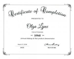 Сертификат Ольги Линкс от Dinair
