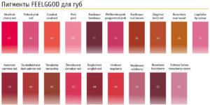 Карта цветов пигментов для губ FEELGOOD