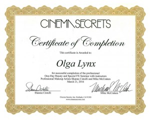 Сертификат Ольги Линкс от Cinemasecrets